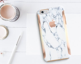 iPhone 8 Case iPhone 8 Plus Case iPhone X Marble Bianco Sivec White with Rose Gold Detailing  Hard Case Otterbox Symmetry        Minimalist