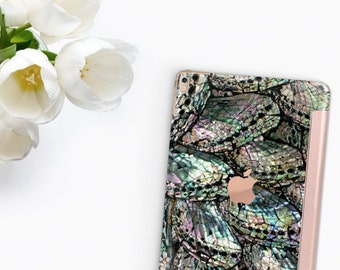 "Abalone Shell Medley with Rose Gold Smart Cover Hard Case for      iPad 9.7 2018.  iPad Pro 12.9 2018 . iPad Pro 11"" . iPad Air 10.5"""
