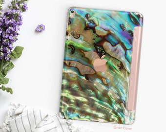 iPad Case . iPad Pro 10.5 . Abalone Shell with Rose Gold Smart Cover Hard Case for  iPad mini 4  iPad Pro  New iPad 9.7 2017