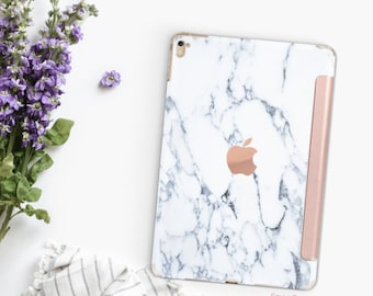 "Bianco Sivec White Marble with Rose Gold Smart Cover Hard Case for      iPad 9.7 2018.  iPad Pro 12.9"" 2020 . iPad Pro 11"" . iPad Air 10.5"""