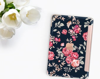 "Richmond Rose Navy Blue with Rose Gold Smart Cover Hard Case for      iPad 9.7 2018.  iPad Pro 12.9 2018 . iPad Pro 11"" . iPad Air 10.5"""