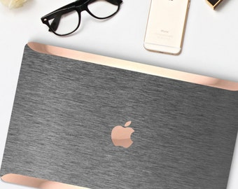 Brushed Steel Macbook Case. Distinctive Macbook Hard Case and Bold Rose Gold Accents . Brushed Grey Macbook Pro 13 Case . Custom Monogram