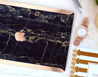 Bold Black Bronze Marble . Distinctive Macbook Hard Case and Bold Rose Gold Accents . Macbook Pro 13 Case A2159  . Custom Monogram