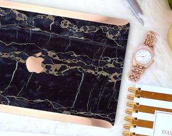 Bold Black Bronze Marble . Distinctive Macbook Hard Case and Bold Rose Gold Accents . Macbook Pro 13 Case . Custom Monogram