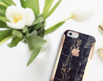 Black & Bronze Marble with Rose Gold   Hard Case Otterbox Symmetry        . iPhone X . iPhone Xs Max . iPhone XR . iPhone 8 . PopSocket