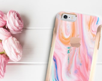 Pastel Marble Swirl with Rose Gold   Hard Case Otterbox Symmetry       . iPhone X . iPhone Xs Max . iPhone XR . iPhone 8 . PopSocket