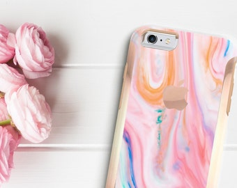 Brushed Pastel Marble Swirl with Rose Gold   Hard Case Otterbox Symmetry         iPhone X   iPhone 11 Pro Max   iPhone XR      iPhone 11