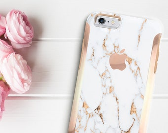 Bianco Sivec Gold Marble with Rose Gold  Hard Case Otterbox Symmetry          . iPhone X . iPhone Xs Max . iPhone XR . iPhone 8 . PopSocket