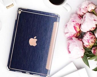 "Brushed Blue with Rose Gold Detailing Hybrid Smart Cover Hard Case for the    iPad Pro iPad 9.7"".  iPad Pro 12.9"" 2020 . iPad Pro 11"""