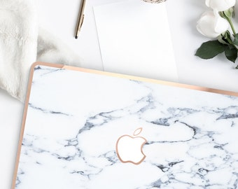 Elegant White Marble Bianco Sivec . Distinctive Macbook Hard Case and Bold Rose Gold Accents . Macbook Pro 13 Case A2159  . Custom Monogram