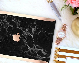 Bold Black Marble . Distinctive Macbook Hard Case and Bold Rose Gold Accents . Macbook Pro 13 Case A2159  . Custom Monogram
