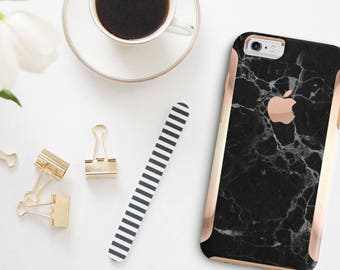 Black Marble with Rose Gold   Hard Case Otterbox Symmetry           . iPhone X . iPhone Xs Max . iPhone XR . iPhone 8 . PopSocket