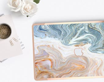 Bold Brown Nacre Marble  . Distinctive Macbook Hard Case and Bold Rose Gold Accents . Macbook Pro 13 Case . Custom Monogram