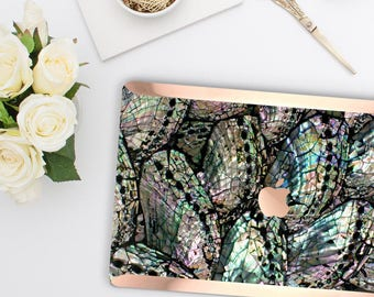 Abalone Shell Medley       . Distinctive Macbook Hard Case and Bold Rose Gold Accents . Macbook Pro 13 Case A2159  . Custom Monogram