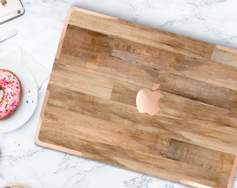 Rustic Untreated Wood . Distinctive Macbook Hard Case and Bold Rose Gold Accents . Macbook Pro 13 Case A2159  . Custom Monogram