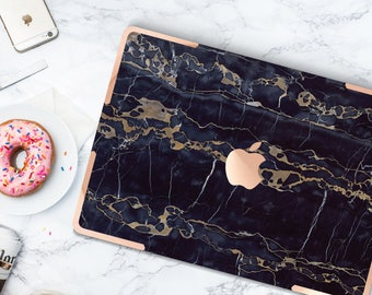 Platinum Edition . Macbook Pro 13 Case Bold Black Bronze Marble . Distinctive  .   Macbook Pro 13 A1989 A2159 . Pro 16 Touch A2141 . A1990