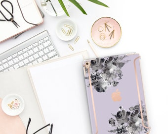 "Frozen Lilac Flowerly Collection Bold Rose Gold Accents   Smart Keyboard compatible Hard . iPad Air 10.5"" . iPad Mini 5 . iPad Pro 10.5"""