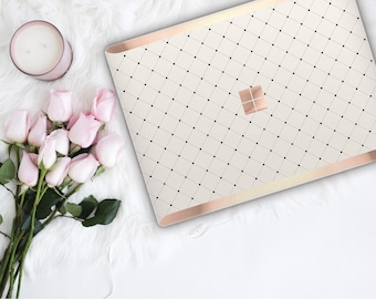 Minimalist Grid and Rose Gold Edge Vinyl Skin  Microsoft Surface Pro X , Surface Laptop 3 , Surface Pro 7  . Surface Go . Monogram