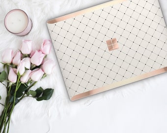 Minimalist Grid and Rose Gold Edge Vinyl Skin  Microsoft Surface Book 2 , Surface Laptop 2 , Surface Pro 6  . Surface Go . Monogram