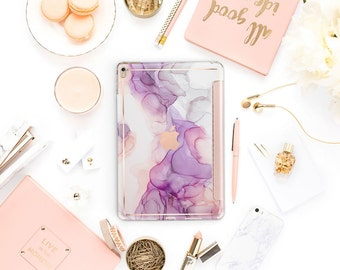 "Amethyst Ink Marble with Rose Gold Smart Cover Hard Case . iPad Pro 12.9 2018 . iPad Pro 11"" . iPad Air 10.5"" . iPad Mini 5"