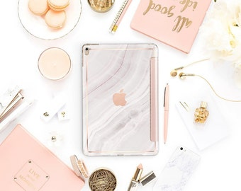"Pink Marble Stone with Rose Gold Smart Cover Hard Case for the      iPad 9.7 2018.  iPad Pro 12.9 2018 . iPad Pro 11"". iPad Air 10.5"""