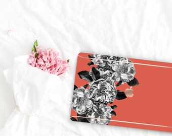Burnt Orange Flowerly Collection Leather Macbook Case . Distinctive Macbook Hard Case and Rose Gold . Macbook Pro 13 Case . Custom Monogram