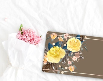 Moss Flowerly Collection Leather Macbook Case . Distinctive Macbook Hard Case and Rose Gold . Macbook Pro 13 Case A2159  . Custom Monogram