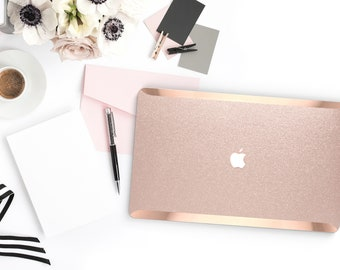 Nude Sparkle Shimmer Glitter .   Macbook Air Case Laptop Case Macbook Case . Rose Gold Chrome . Platinum A1990 . A1990