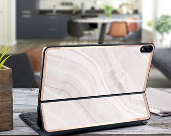 "Pink Marble Stone and Rose Gold Vinyl Skin Decal for  Apple Smart Keyboard Folio Magic Keyboard  . iPad Pro 12.9"" . iPad Pro 2020"