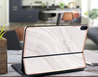 "Pink Marble Stone and Rose Gold Vinyl Skin Decal - Apple Smart Keyboard Folio iPad Pro 11"" . iPad Pro 12.9"" . iPad Air 10.5"