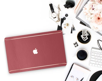 Leather Siena and Thin Rose Gold Accents Macbook Hard Case . Hand-Made Macbook Hard Case  . Macbook Pro 13 Case A2159  . Macbook Air 13 2018