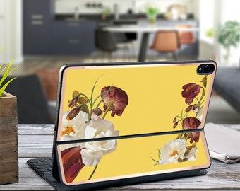 "Rustic Magnolia Canary and Rose Gold Vinyl Skin Decal - Apple Smart Keyboard Folio iPad Pro 11"" . iPad Pro 12.9"" . iPad Air 10.5 .  Monogram"