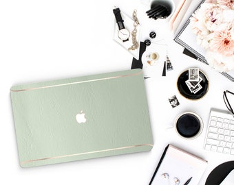 Elegant Pale Green and Thin Rose Gold Accents Macbook Hard Case . Hand-Made Macbook Hard Case  . Macbook Pro 13 Case . Macbook Air 13 2018