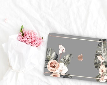 Spanish Gray Flowerly Collection Leather Macbook Case . Distinctive Macbook Hard Case and Rose Gold . Macbook Pro 13 Case . Custom Monogram