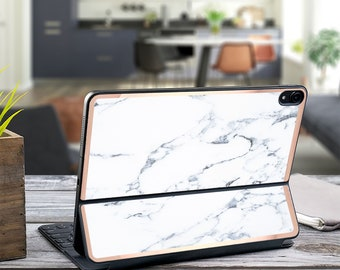 "Bianco Sivec Marble and Rose Gold Vinyl Skin Decal for  Apple Smart Keyboard Folio iPad Pro 11"" . iPad Pro 12.9"" . iPad Pro 2020"" . Monogram"