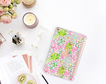 """Pineapple with Rose Gold Smart Cover Hard Case . Lilly Pulitzer Inspired.  iPad Pro 12.9"""" 2020 . iPad Pro 11"""" . iPad Air 10.5"""". iPad Mini 5"""