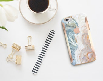 Brown & Nacre Marble with Rose Gold   Hard Case Otterbox Symmetry        . iPhone X . iPhone Xs Max . iPhone XR . iPhone 8 . PopSocket