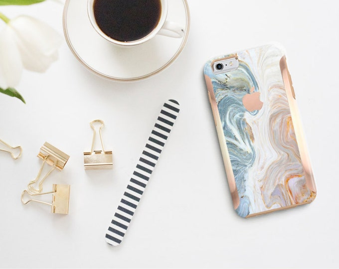 Featured listing image: iPhone 8 Case iPhone 8 Plus Case iPhone X Brown & Nacre Marble with Rose Gold Accents  Hard Case Otterbox Symmetry         Minimalist