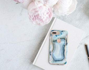 Agata Azzurra and Rose Gold Case Otterbox Symmetry            Collection  . iPhone X . iPhone Xs Max . iPhone XR . iPhone 8 . PopSocket
