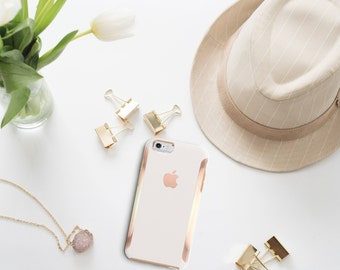 Cream and Rose Gold Hard Case Otterbox Symmetry                  . iPhone X . iPhone Xs Max . iPhone XR . iPhone 8 . PopSocket