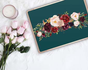 Light Moss Green Flowerly Collection and Rose Gold Edge Vinyl Skin Microsoft Surface Pro X , Surface Laptop 3 , Surface Pro 7 . Surface Go