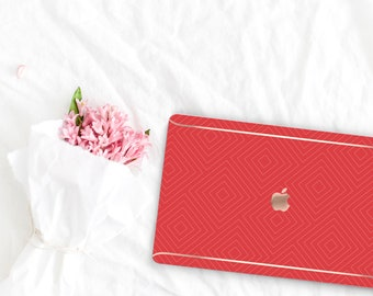 Red Hot Chili Pattern Collection Leather Macbook Case . Distinctive Macbook Hard Case and Rose Gold . Macbook Pro 13 Case . Custom Monogram
