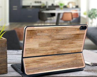 "Untreated Wood and Rose Gold Vinyl Skin Decal - Apple Smart Keyboard Folio iPad Pro 11"" . iPad Pro 12.9"" . iPad Air 10.5"""