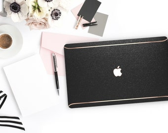 Black Sparkle Shimmer Glitter .   Macbook Air Case Laptop Case Macbook Case . Rose Gold Chrome . Platinum A1990 . A1990