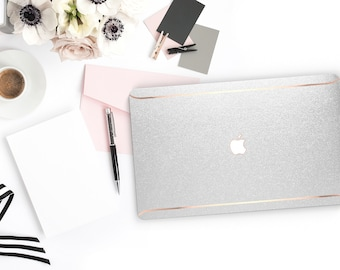 Silver Sparkle Shimmer Glitter . Macbook Pro 13 Case A2159  Macbook Air Case Laptop Case Macbook Case . Rose Gold Chrome . Platinum