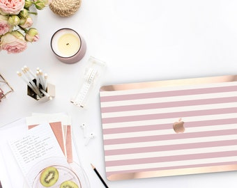 Cameo Pink Stripes . Macbook Case . Distinctive Macbook Hard Case and Rose Gold . Macbook Pro 13 Case A2159  . Custom Monogram