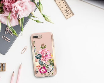 Brushed Dust Storm Flowerly Collection and Rose Gold Hard Case Otterbox Symmetry  iPhone X   iPhone 11 Pro Max   iPhone XR      Monogram