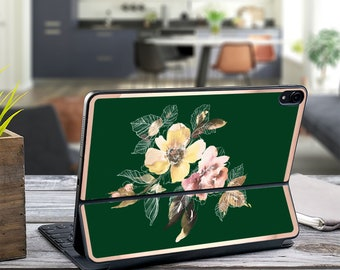 "Vintage Water Blooms Phthalo Green and Rose Gold Vinyl Skin Decal - Apple Smart Keyboard Folio iPad Pro 11"" . iPad Pro 12.9"" . iPad Pro 2020"