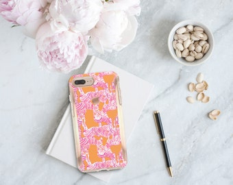 Zebra and Rose Gold . Lilly Pulitzer Inspired . Hard Case Otterbox Symmetry. iPhone X . iPhone Xs Max . iPhone XR . iPhone 8 . Monogram