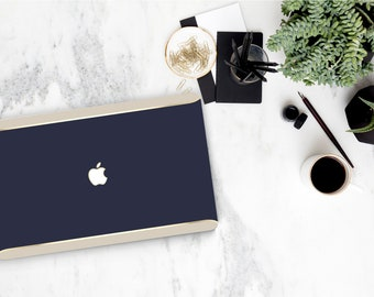 Blue Navy and Cream Accent Duo Tone Macbook Hard Case . Distinctive Hand-Made Macbook Hard Case with Bold Gold Accents . Macbook Pro 13 Case